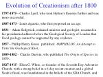 evolution of creationism after 1800
