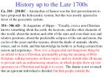 history up to the late 1700s
