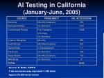 ai testing in california january june 2005