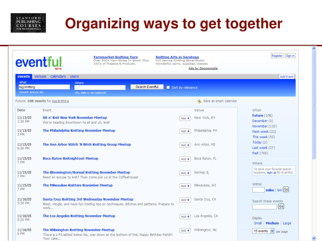 Organizing ways to get together