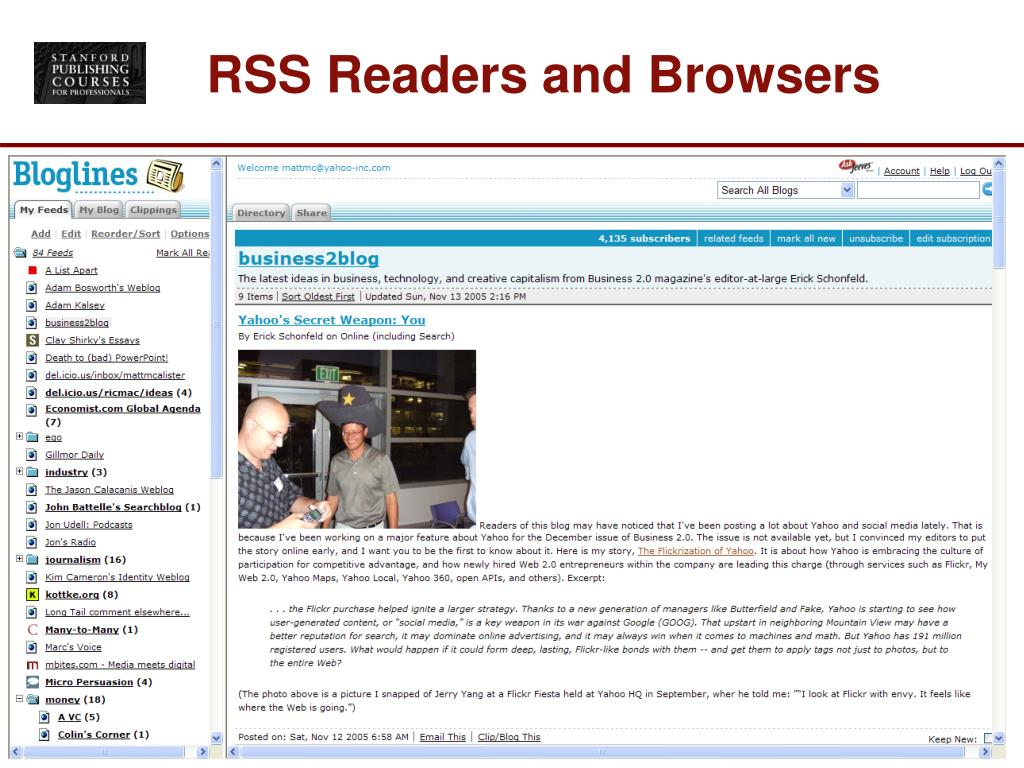 RSS Readers and Browsers
