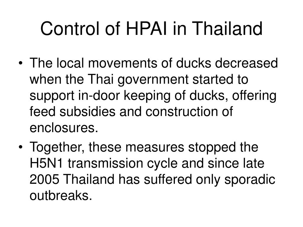 Control of HPAI in Thailand