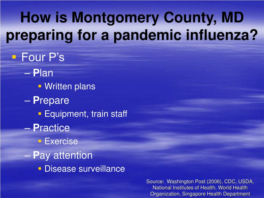 How is Montgomery County, MD preparing for a pandemic influenza?