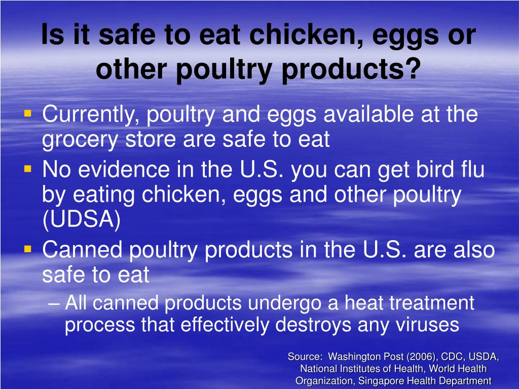 Is it safe to eat chicken, eggs or other poultry products?