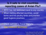 is it safe to visit countries reporting cases of avian flu