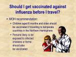 should i get vaccinated against influenza before i travel