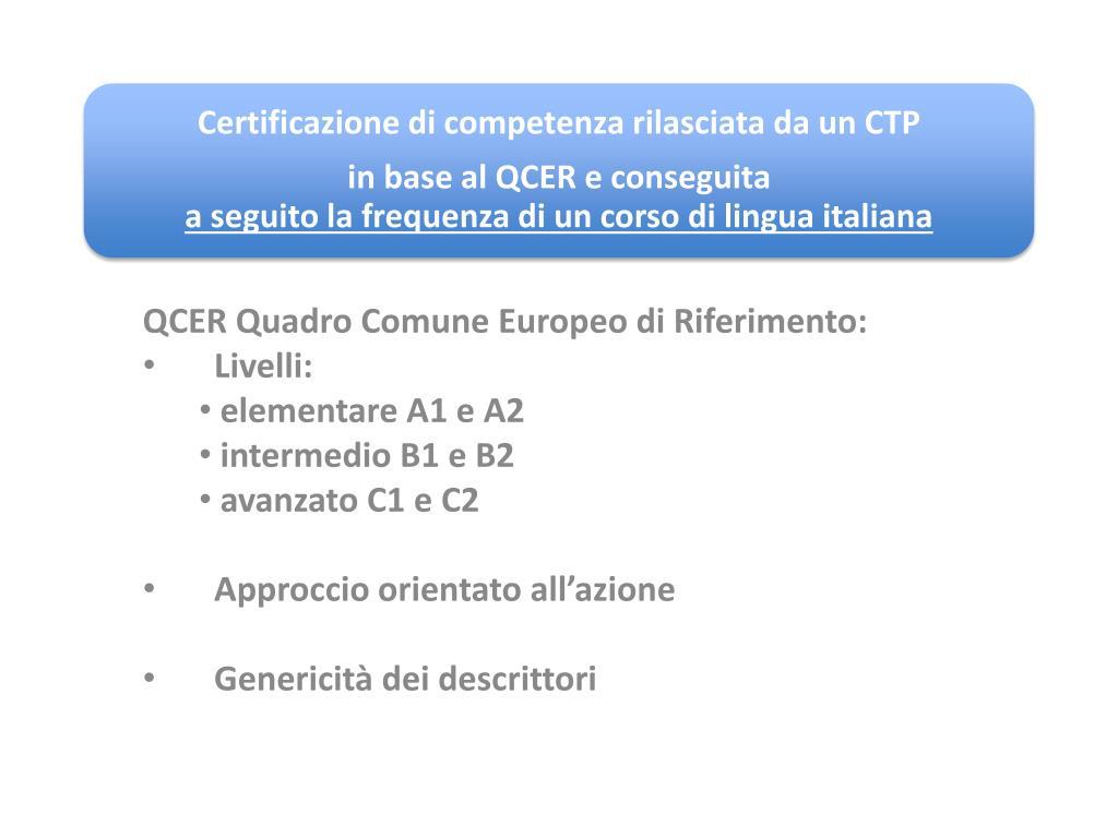 QCER Quadro Comune Europeo di Riferimento: