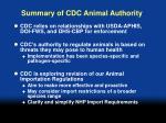 summary of cdc animal authority30