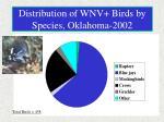 distribution of wnv birds by species oklahoma 2002