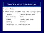 west nile virus mild infection