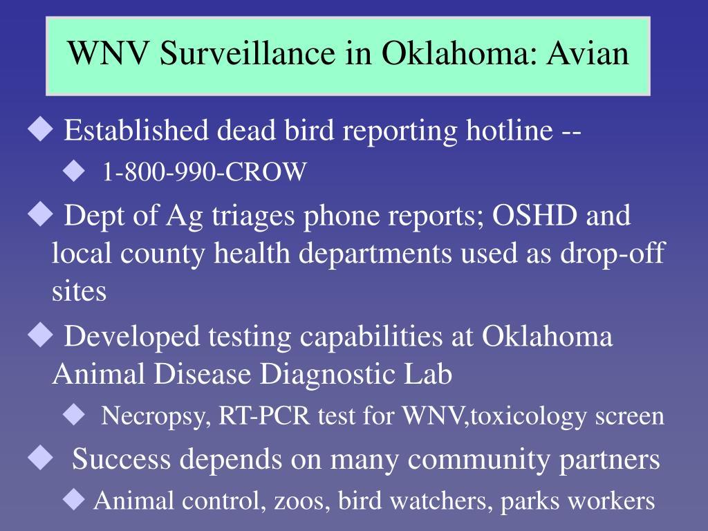 WNV Surveillance in Oklahoma: Avian