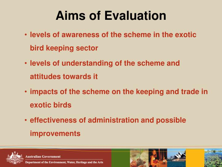 Aims of evaluation