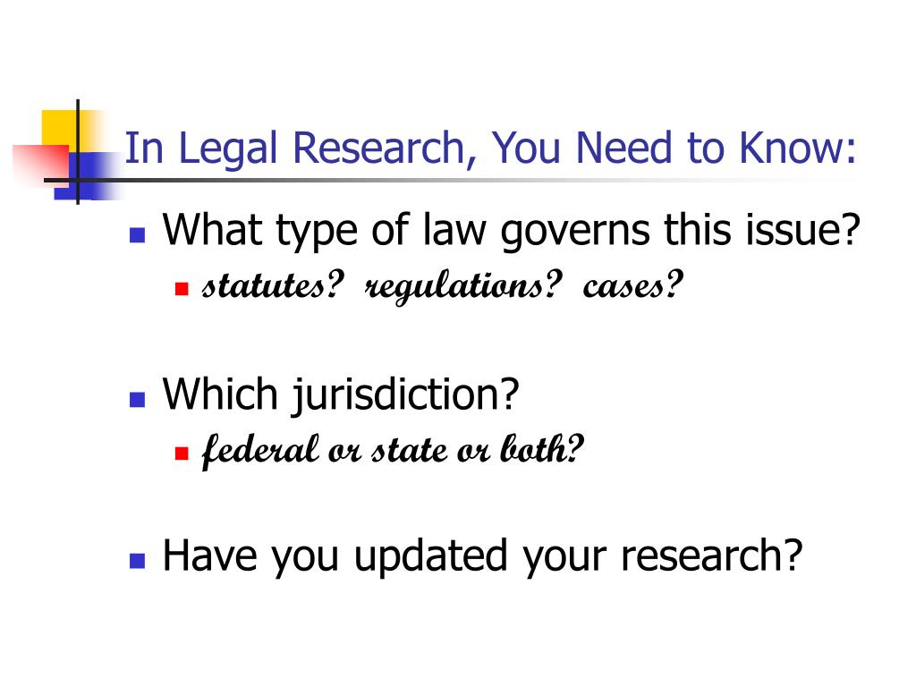 In Legal Research, You Need to Know: