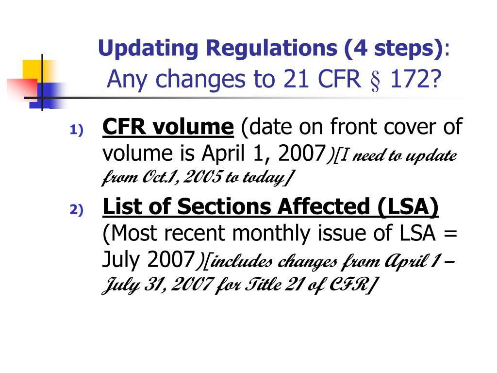 Updating Regulations (4 steps)