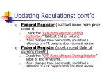 updating regulations cont d