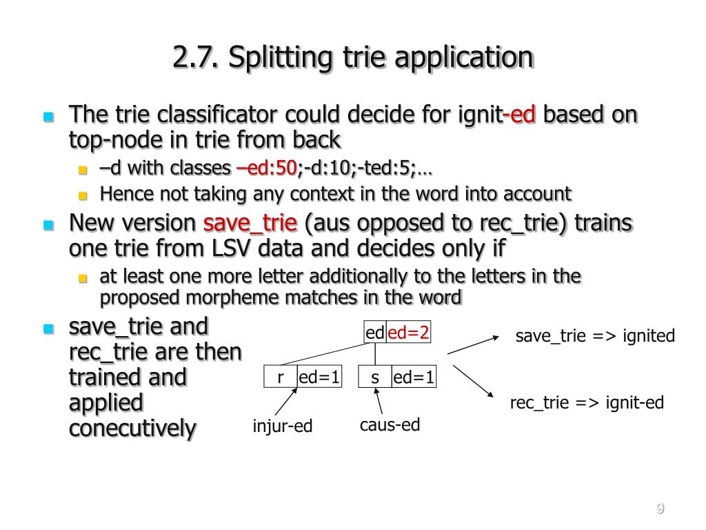 2.7. Splitting trie application