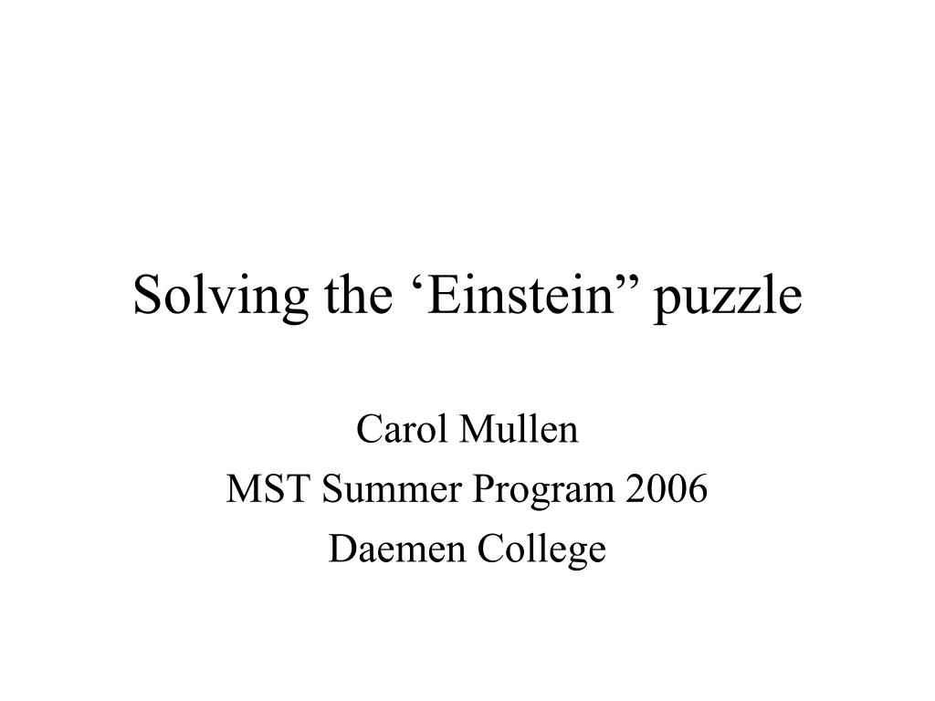 solving the einstein puzzle