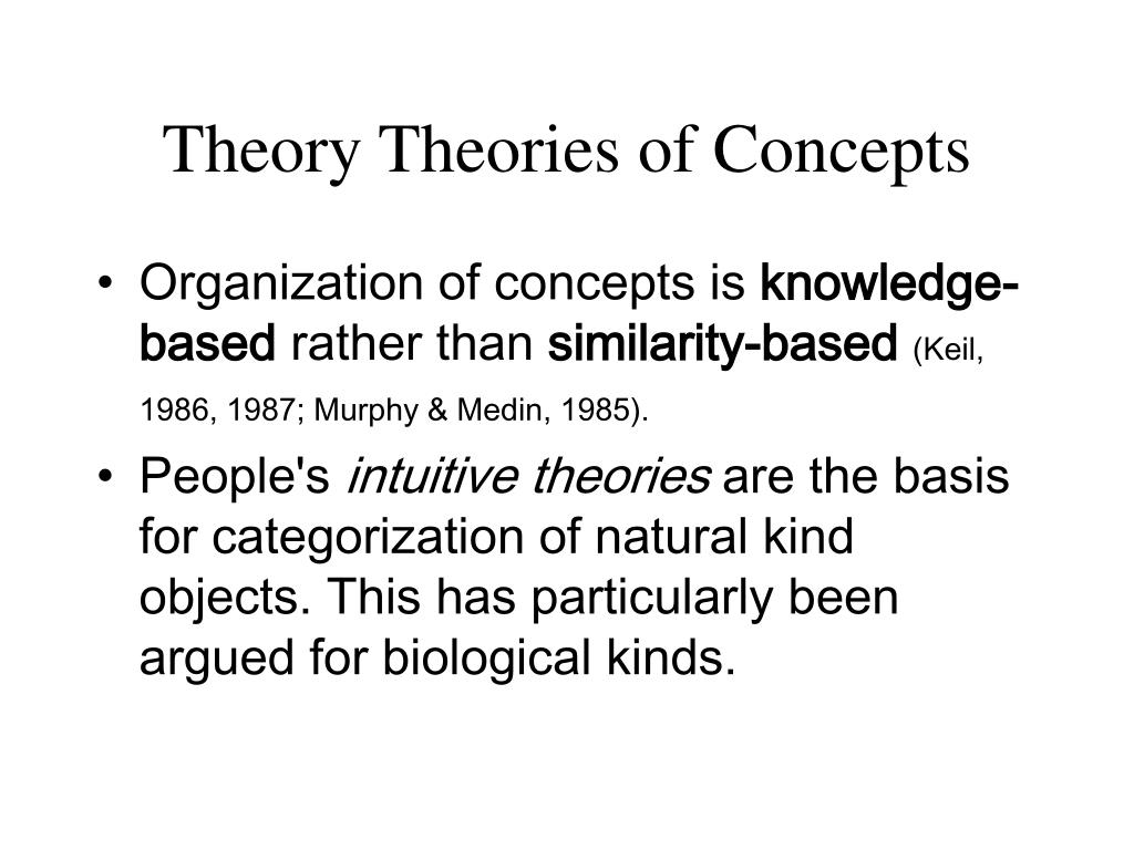 Theory Theories of Concepts