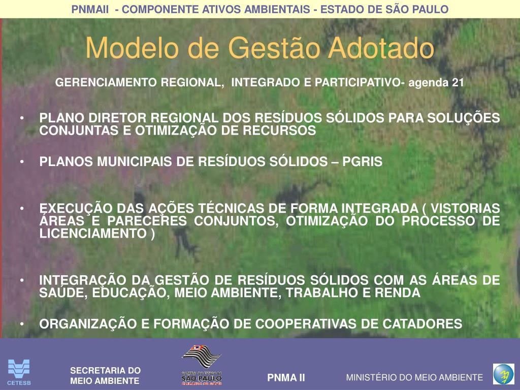 GERENCIAMENTO REGIONAL,  INTEGRADO E PARTICIPATIVO- agenda 21