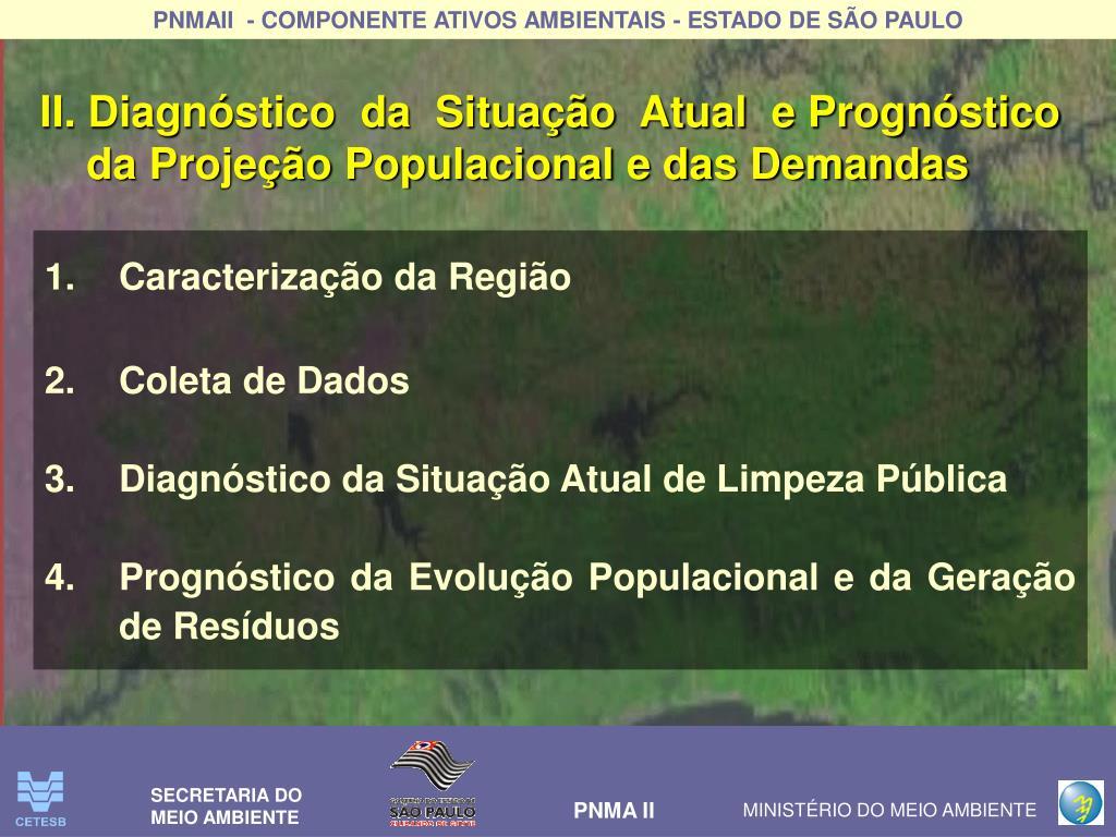 II. Diagnóstico  da  Situação  Atual  e Prognóstico da Projeção Populacional e das Demandas