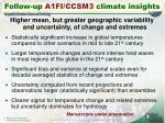 follow up a1fi ccsm3 climate insights