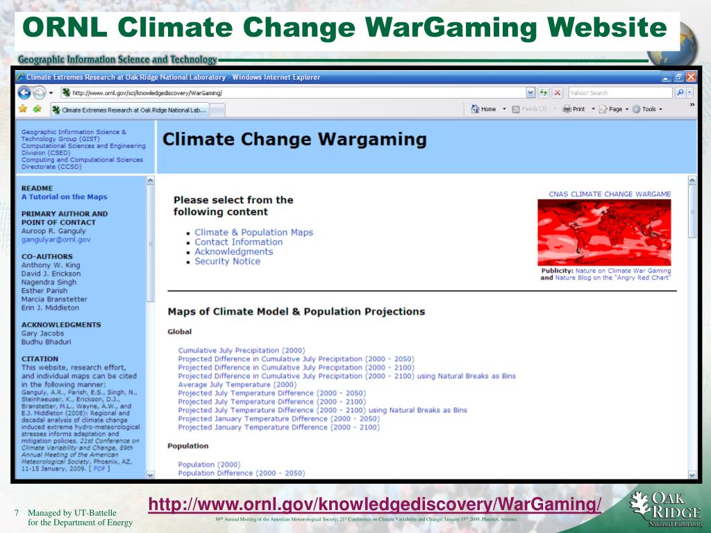 ORNL Climate Change WarGaming Website