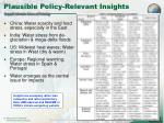 plausible policy relevant insights