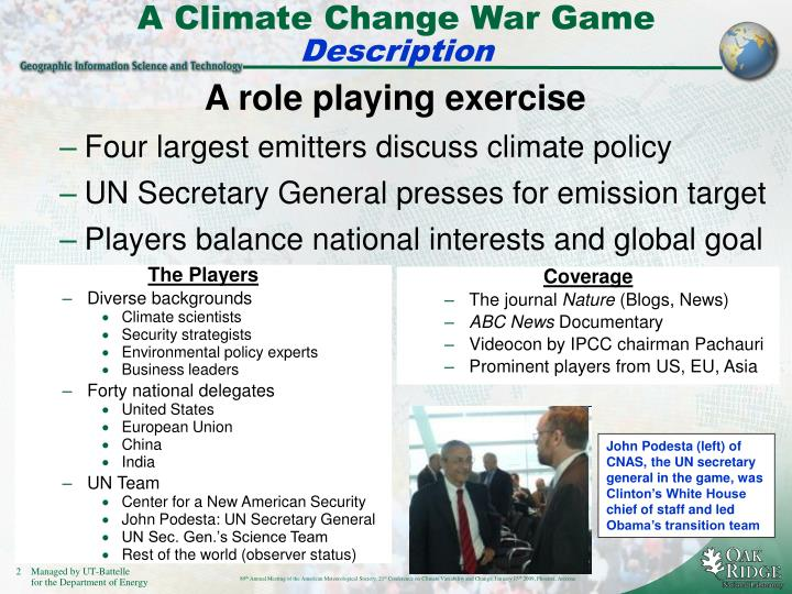 A Climate Change War Game