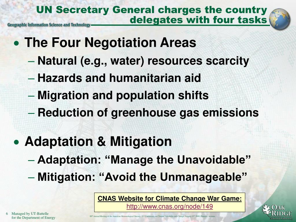 UN Secretary General charges the country delegates with four tasks