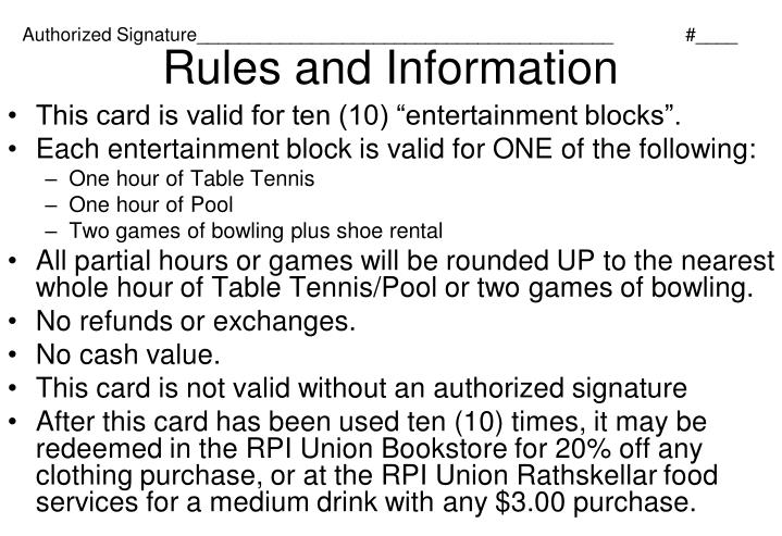 Rules and information