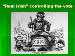 rum irish controlling the vote