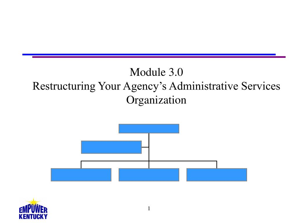 module 3 0 restructuring your agency s administrative services organization l.
