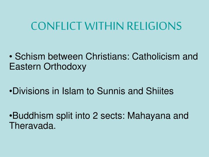 conflict within religions n.