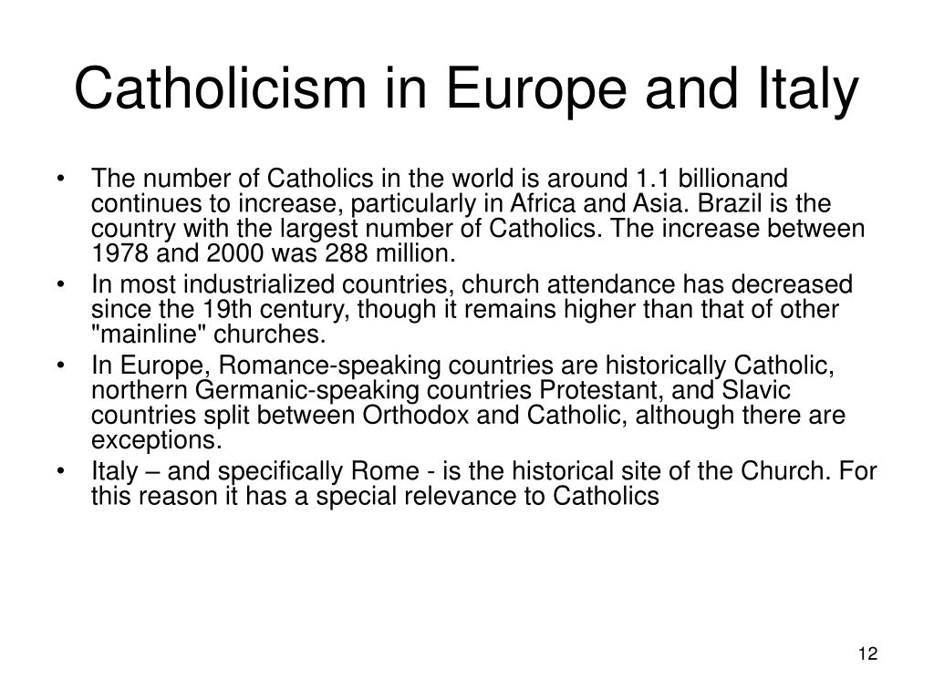 Catholicism in Europe and Italy