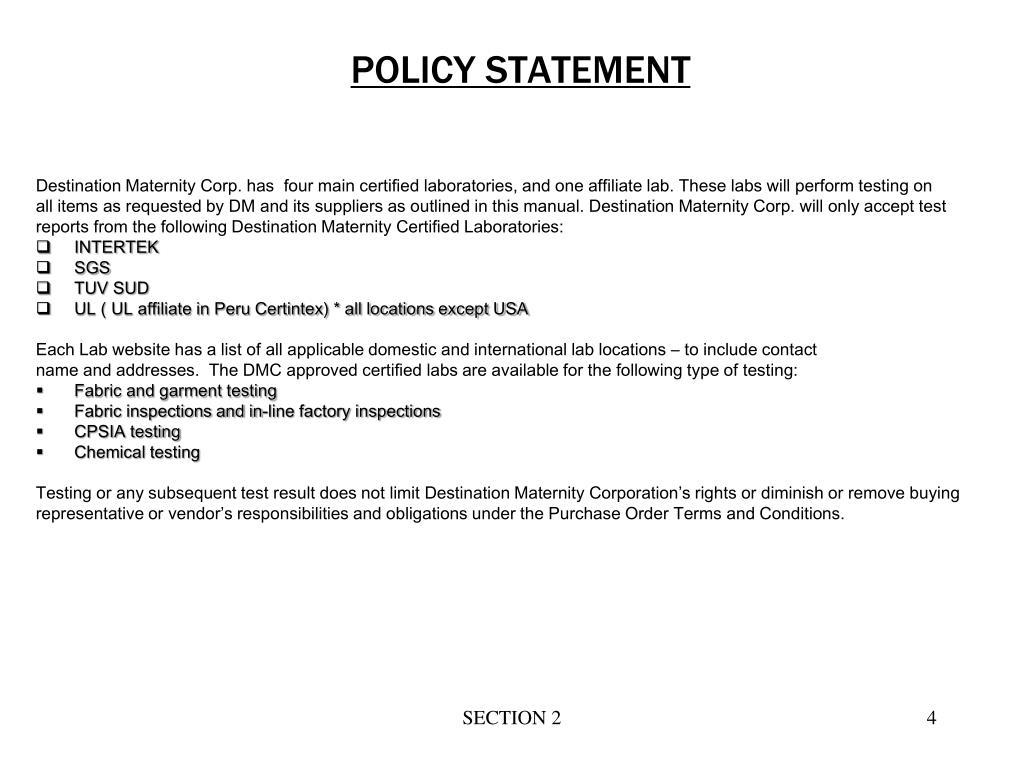 PPT - Import Testing Mini Manual: Maternity Apparel 2013