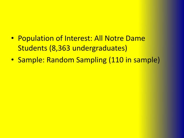 Population of Interest: All Notre Dame Students (8,363 undergraduates)