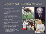 cognitive and perceptual variation