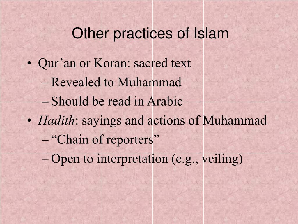 Other practices of Islam