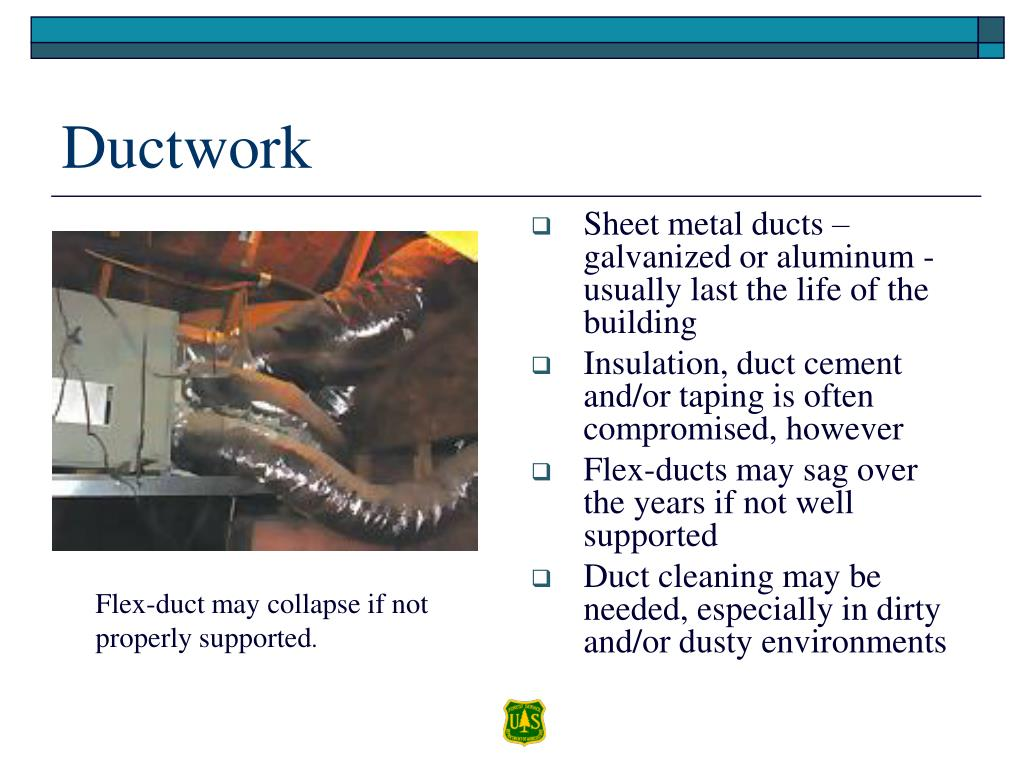 Sheet metal ducts – galvanized or aluminum - usually last the life of the building