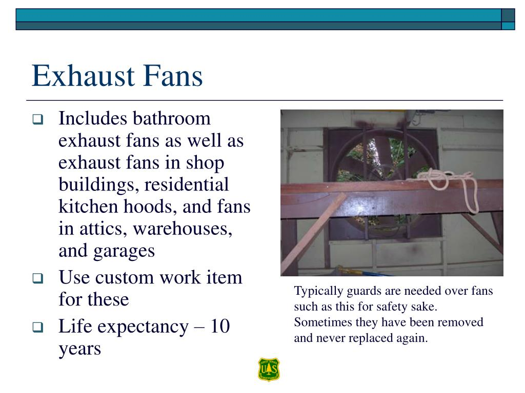 Includes bathroom exhaust fans as well as exhaust fans in shop buildings, residential kitchen hoods, and fans in attics, warehouses, and garages