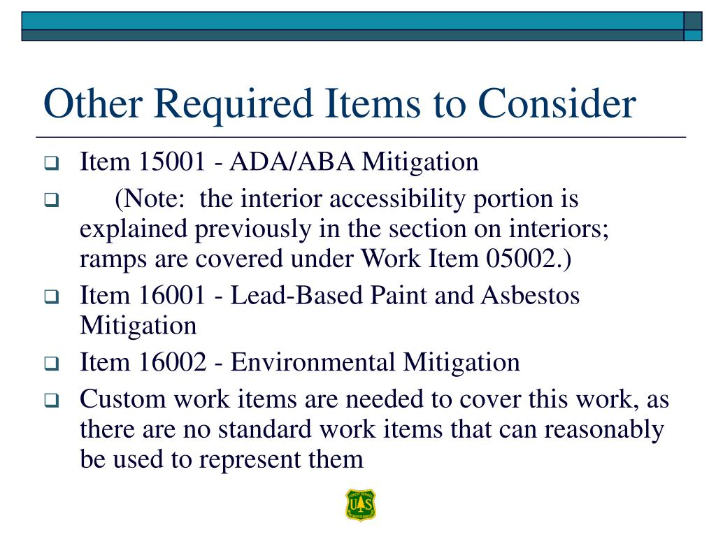 Other Required Items to Consider
