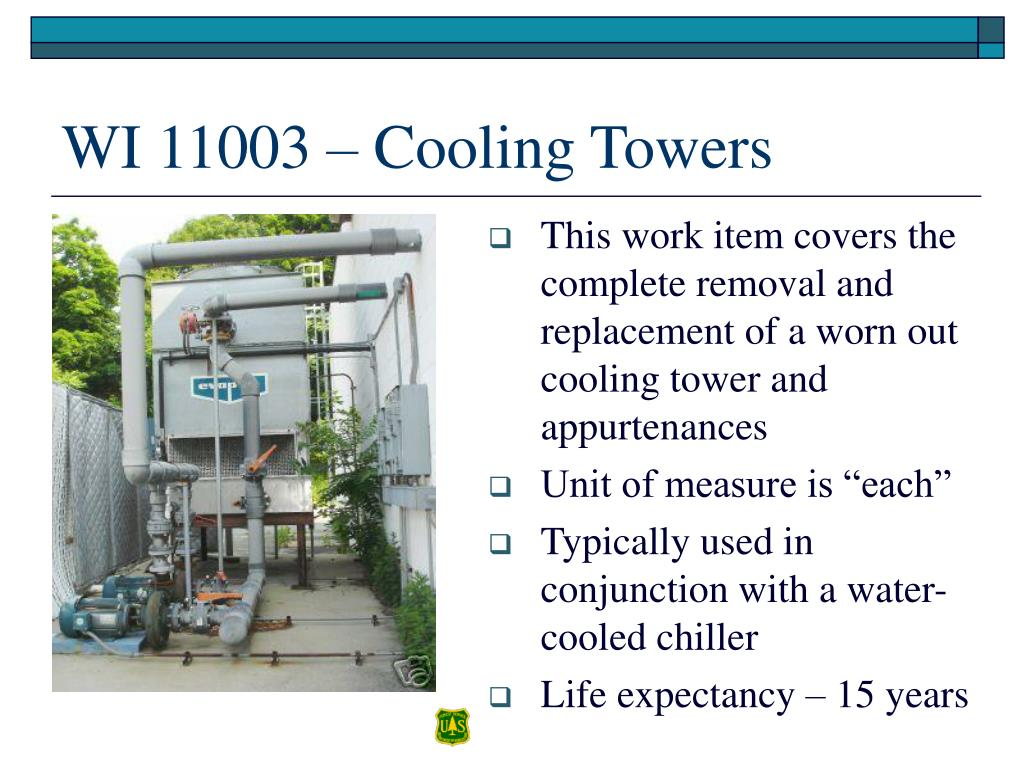 This work item covers the complete removal and replacement of a worn out cooling tower and appurtenances