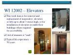 wi 12002 elevators