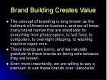 brand building creates value