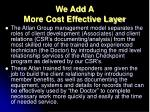 we add a more cost effective layer