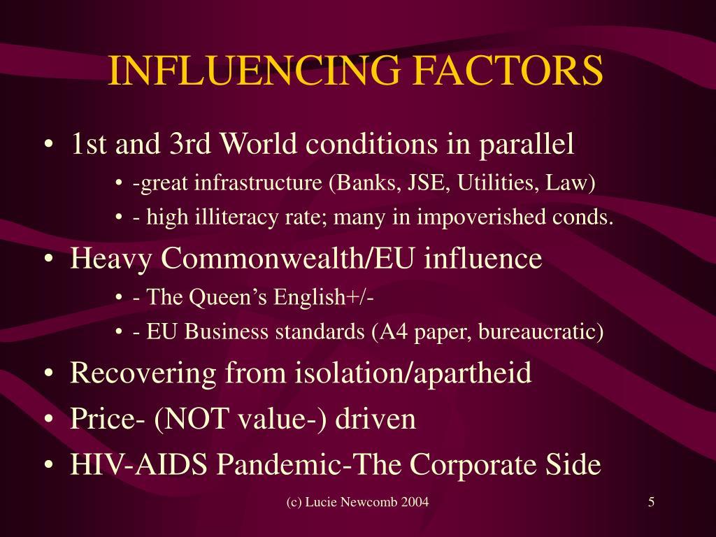 INFLUENCING FACTORS