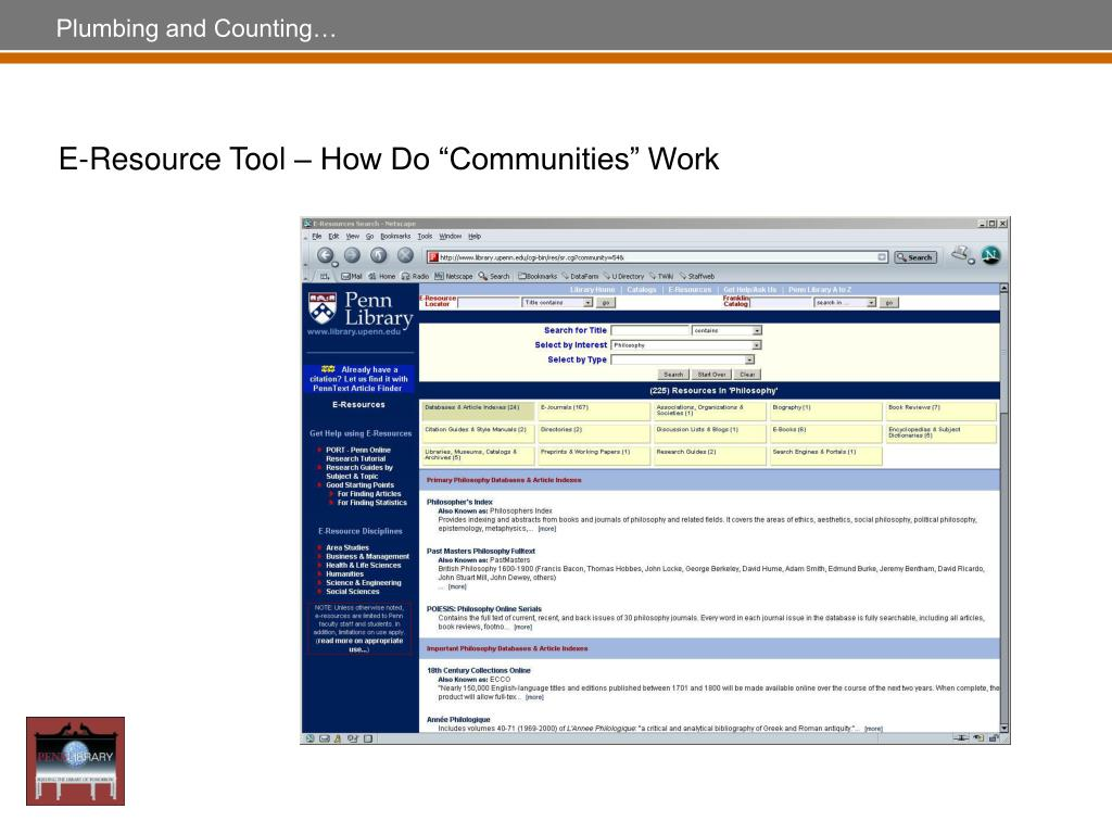 "E-Resource Tool – How Do ""Communities"" Work"