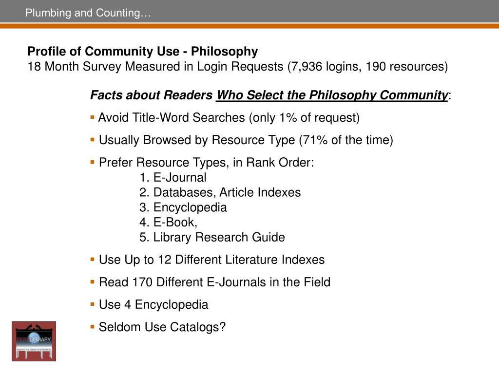 Profile of Community Use - Philosophy