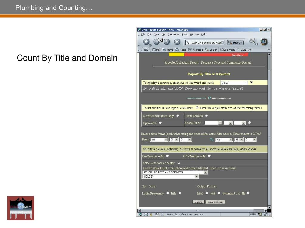 Count By Title and Domain