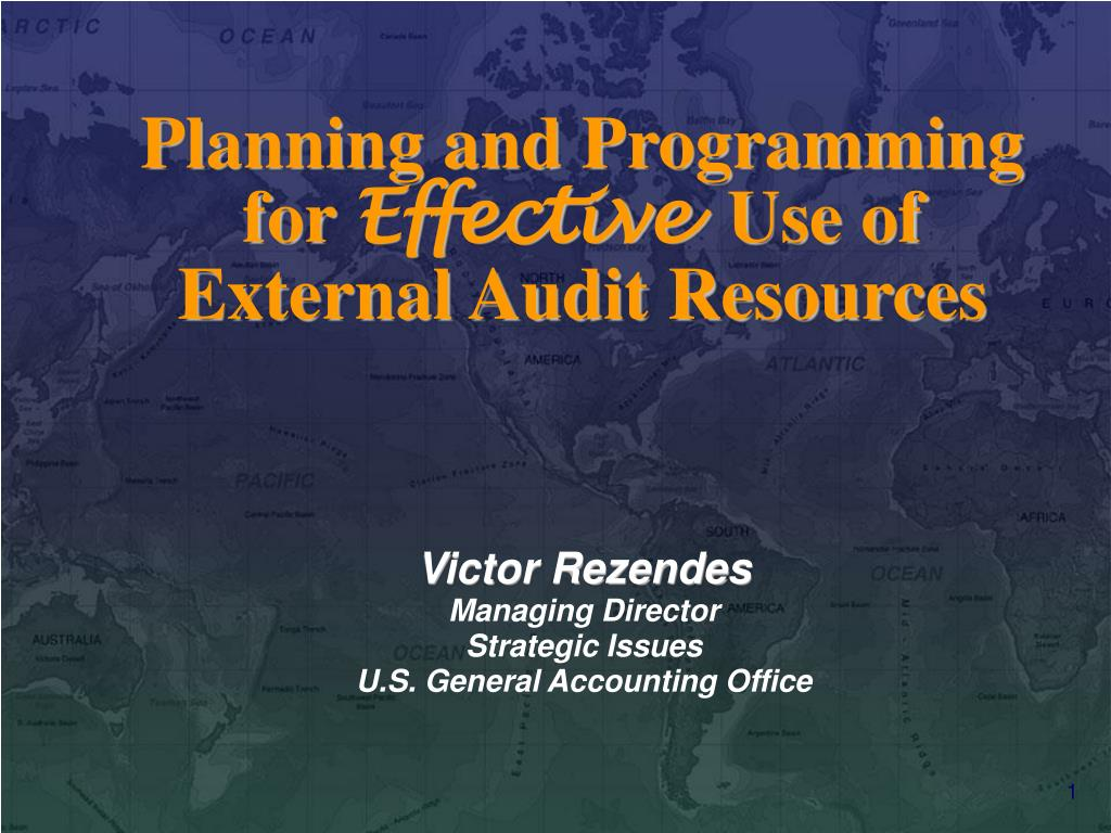 planning and programming for effective use of external audit resources l.